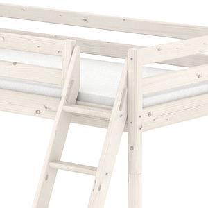 Lit mi-hauteur Classic Line 90x190 cm + échelle inclinée avec poignées intégrées + toboggan by Flexa