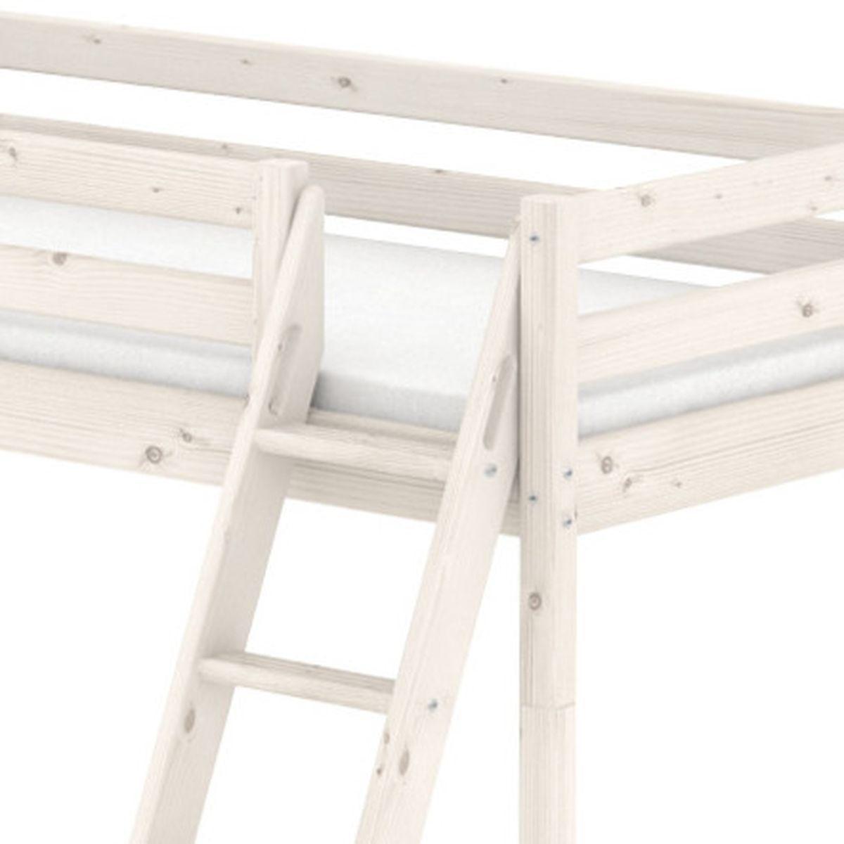 Lit mi-hauteur Classic Line 90x200 cm + échelle inclinée avec poignées intégrées + toboggan by Flexa