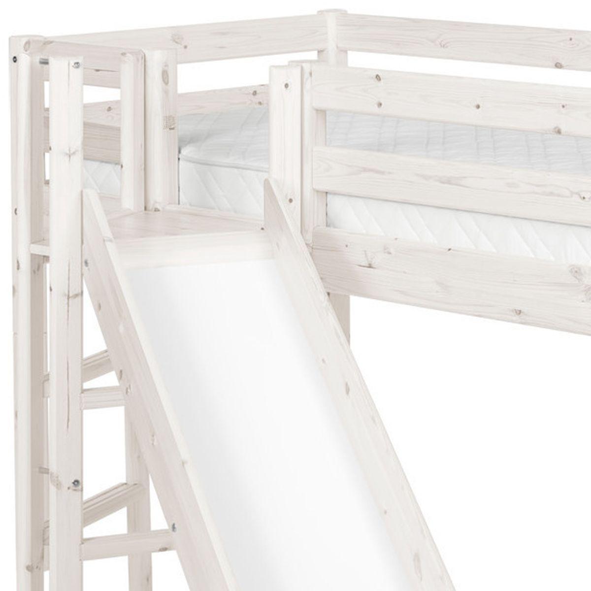 Lit mi-hauteur Classic Line 90x200 cm + plate-forme + toboggan by Flexa