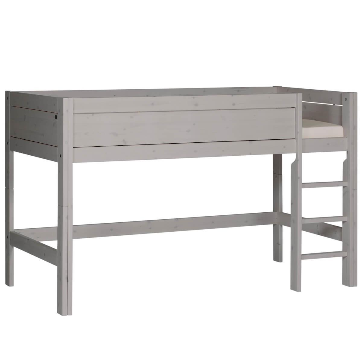 Lit mi-hauteur échelle droite 90x200cm Lifetime gris