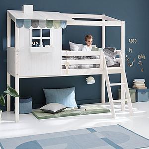 Lit mi hauteur évolutif cabane 90x200cm 1/2 PLAY HOUSE CLASSIC Flexa terra-blanc
