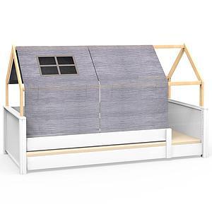 Lit montessori barrière simple cabane KASVA avec textiles Bobble grey