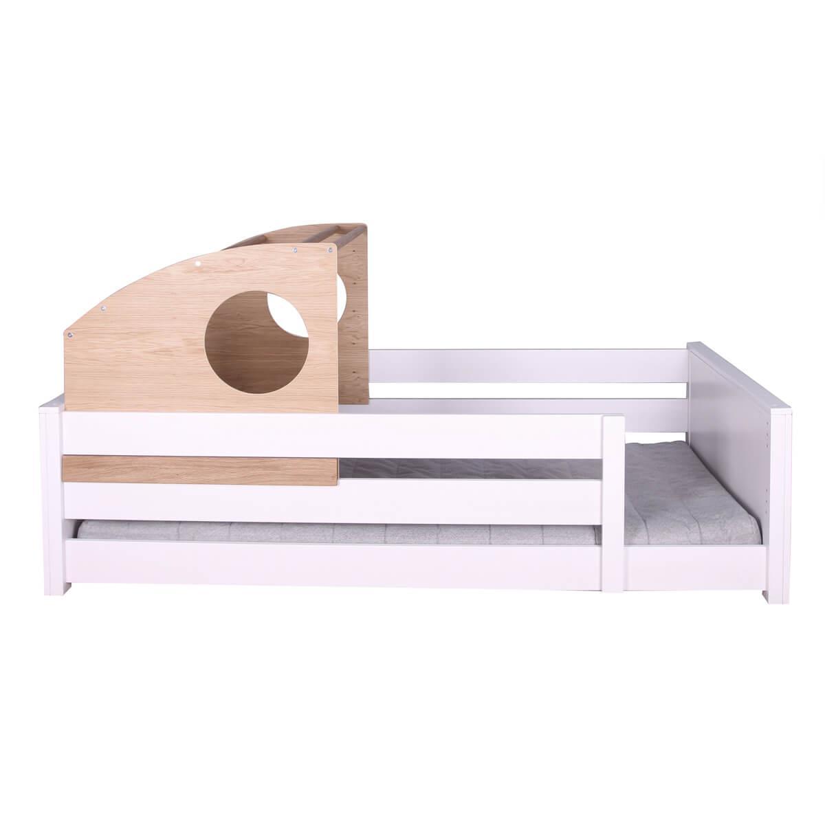 Lit montessori-cabine coulissante chêne KASVA hêtre massif laqué blanc
