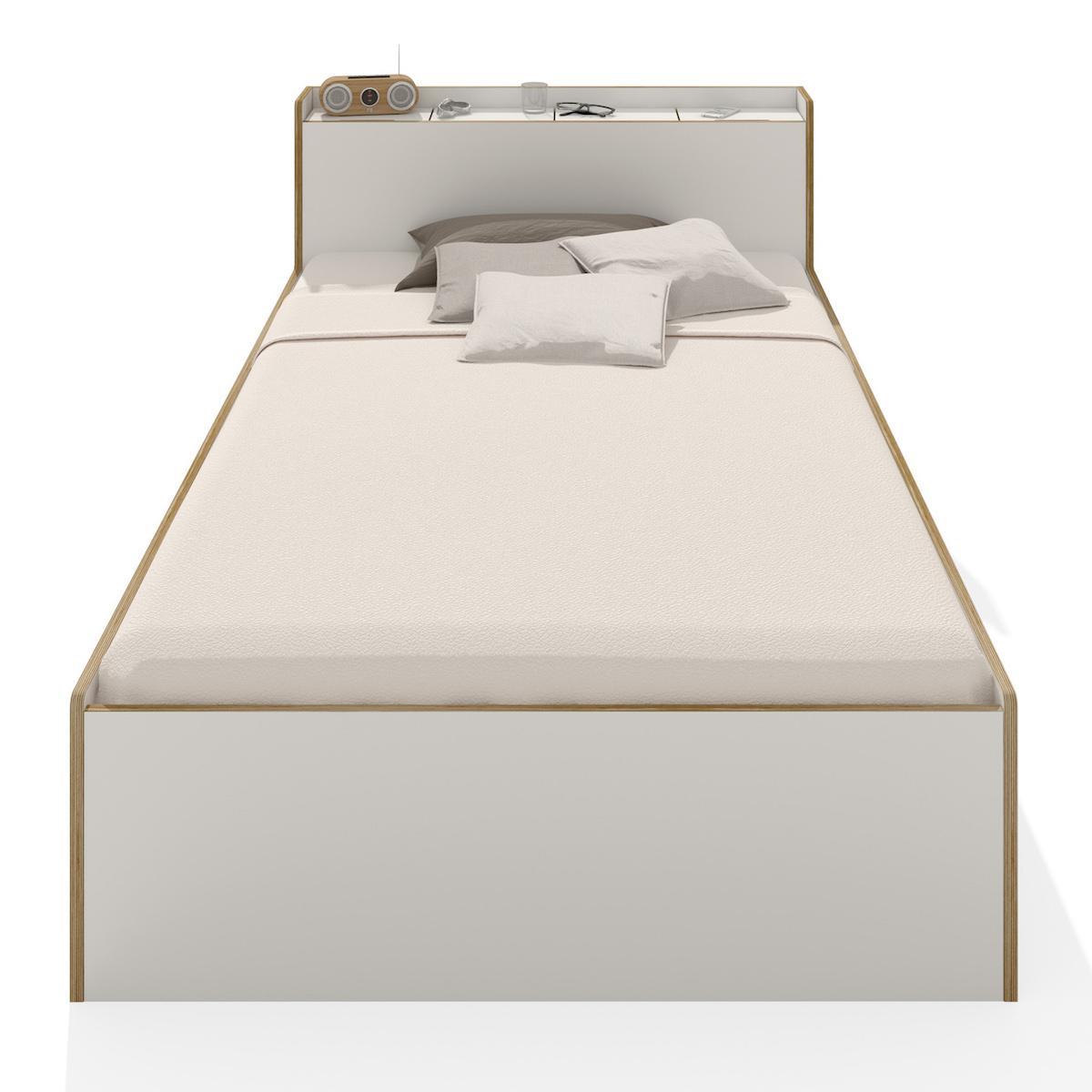Lit simple 100x200cm NOOK Mueller blanc-bouleau