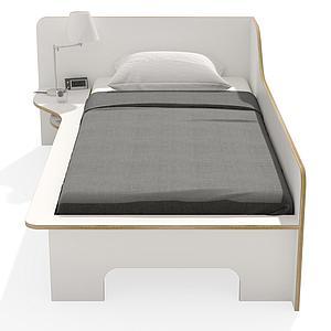 Lit simple 90x200cm version gauche PLANE Mueller blanc-bouleau