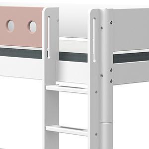 Lit superposé 90x190cm échelle droite WHITE Flexa blanc-light rose