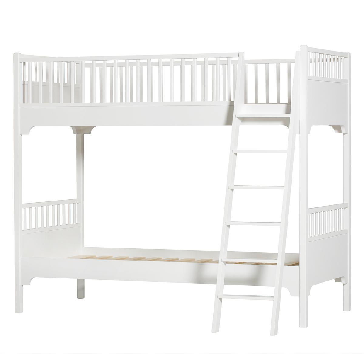 Lit superposé 90x200 cm échelle inclinée SEASIDE CLASSIC Oliver Furniture blanc