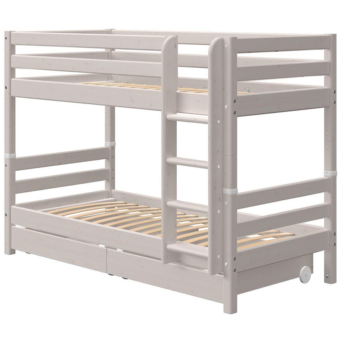 Lit superposé 90x200cm échelle droite 2 tiroirs CLASSIC grey washed
