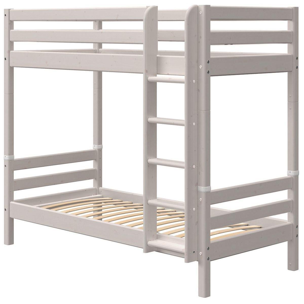 Lit superposé haut 90x190cm échelle droite CLASSIC grey washed