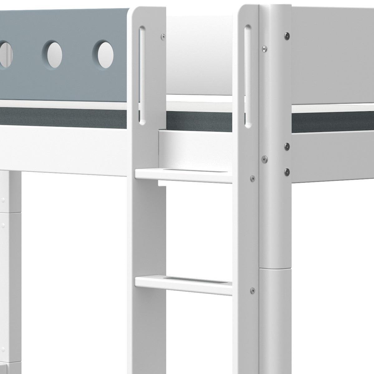 Lit superposé haut 90x190cm échelle droite WHITE Flexa blanc-light blue