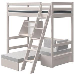 Lit superposé haut 90x190cm échelle inclinée bureau Click-On module de couchage casa CLASSIC Flexa grey washed