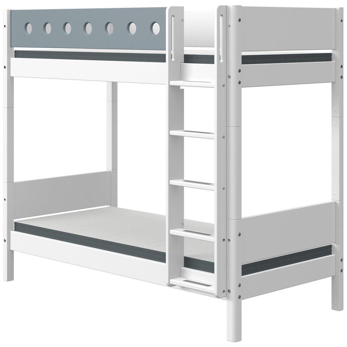 Lit superposé haut 90x200cm échelle droite WHITE Flexa blanc-light blue