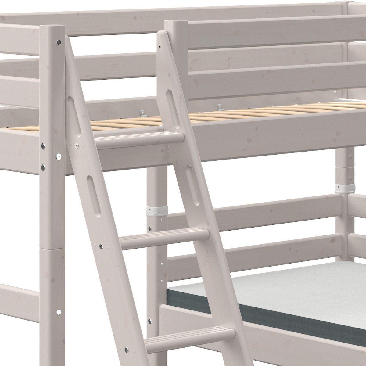 Lit superposé modulable 90x190cm échelle inclinée CLASSIC Flexa grey washed