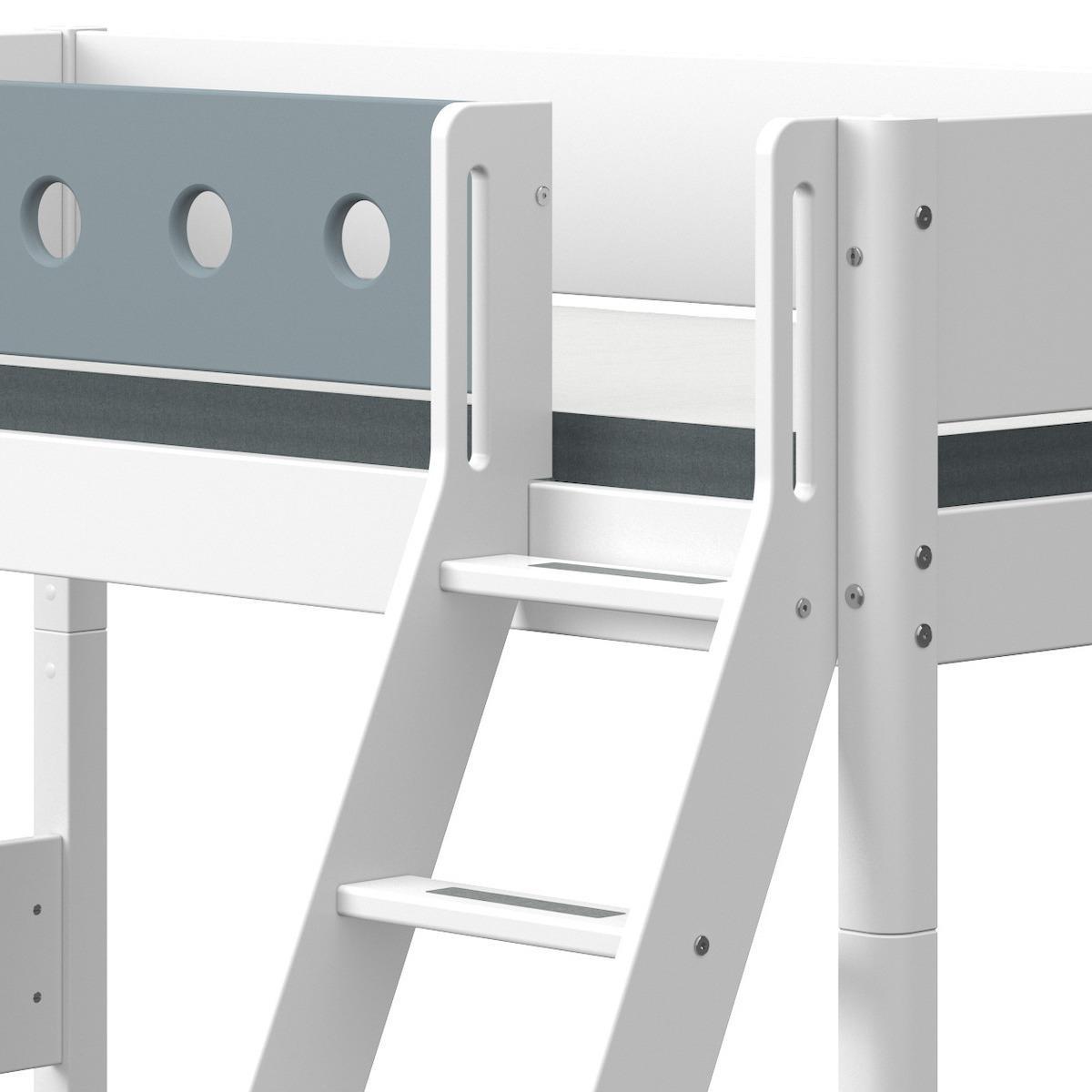 Lit surélevé 90x190cm échelle inclinée WHITE Flexa blanc-light blue