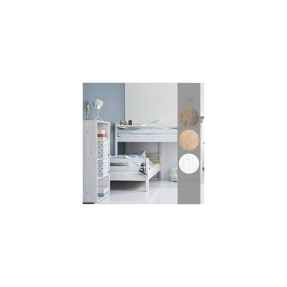 Lit surélevé Classic Line + lit Classic simple Line 90x200 cm + échelle droite by Flexa