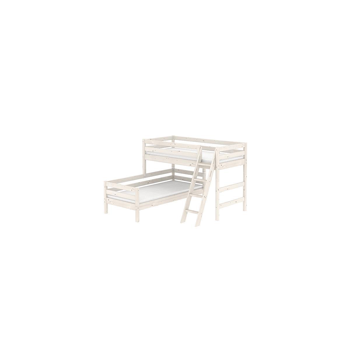 Lit surélevé Classic + lit Classic simple Line 90x200 cm + échelle inclinée avec poignées by Flexa
