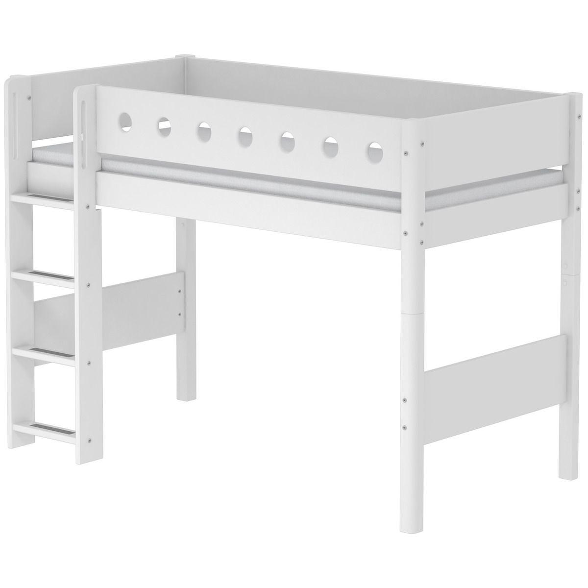Lit surélevé enfant WHITE Flexa 90x200 échelle droite pieds blancs barrière blanche