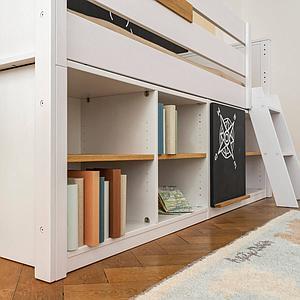 Lit surélevé étagère mi-hauteur KASVA hêtre massif laqué blanc