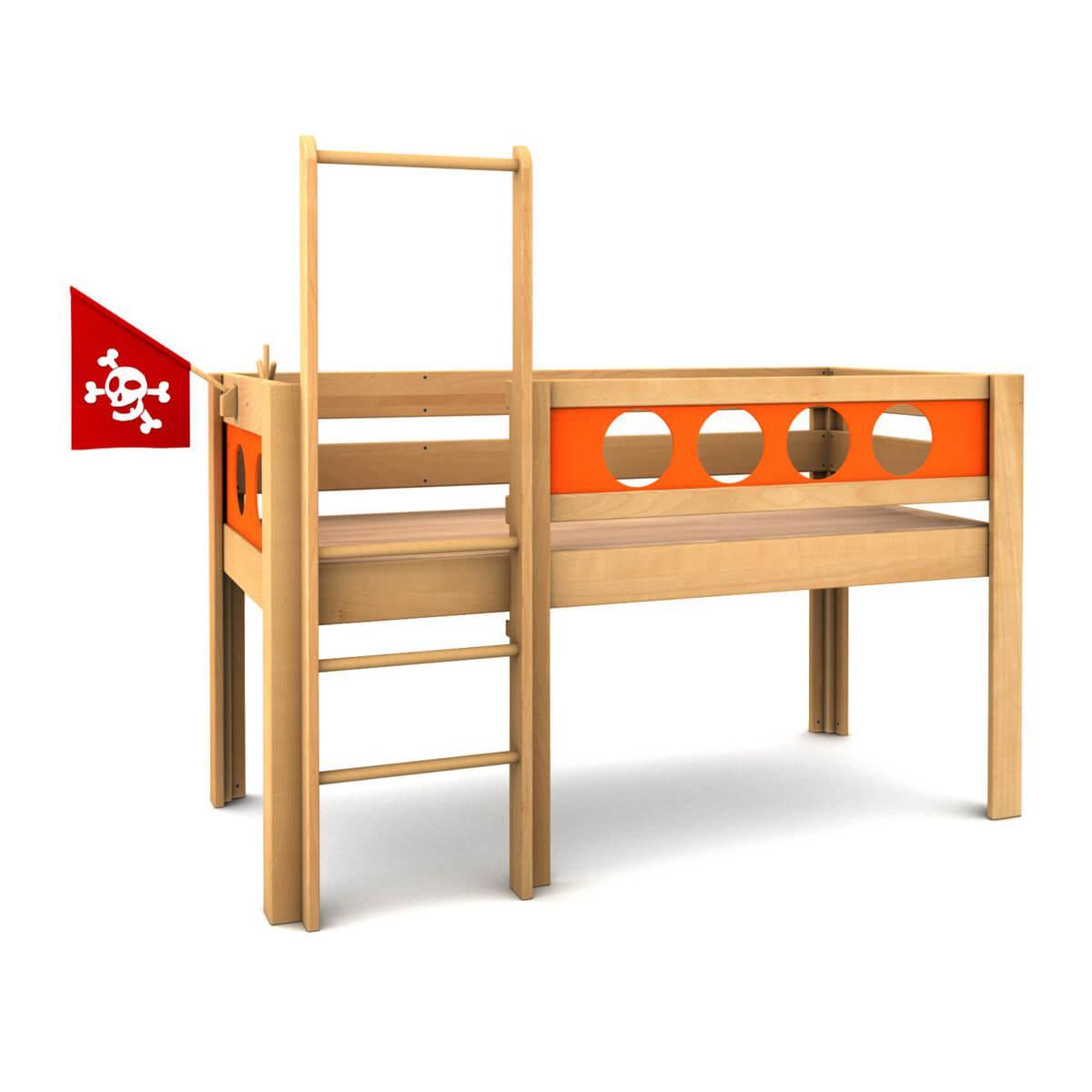 Lit surélevé Pirat DELUXE de Breuyn bois huilé-orange
