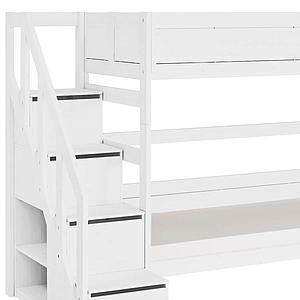 Lits superposés 90x200cm escalier Lifetime Blanc