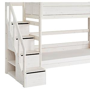 Lits superposés 90x200cm escalier Lifetime whitewash