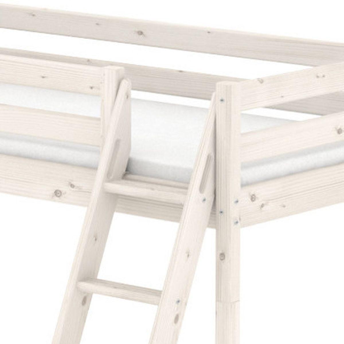 NEW CLASSIC LINE by Flexa Lit mi-hauteur 90x190 cm avec échelle inclinée poignées et rambarde blanche