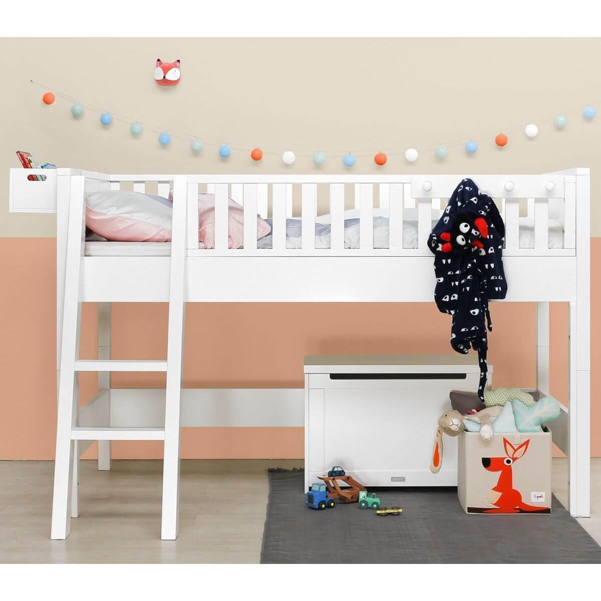 NORDIC by Bopita Lit mezzanine enfant mi hauteur échelle inclinée 90x200 cm