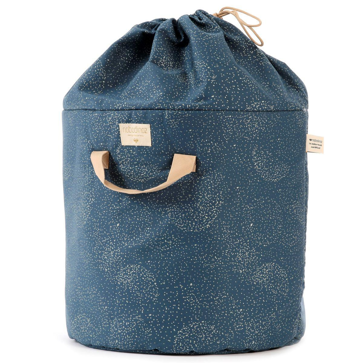 Panier rangement 60x42cm BAMBOO Nobodinoz gold bubble-night blue