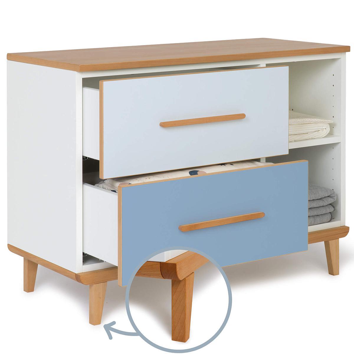 Petit meuble 2 tiroirs NADO sky blue-capri blue