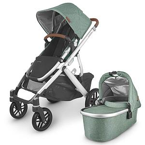 Poussette complète VISTA V2 Uppababy Emmett green melée-silver-saddle leather