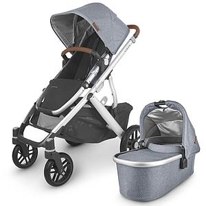 Poussette complète VISTA V2 Uppababy Gregory blue melée-silver-saddle leather