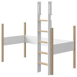 Structure-échelle lit mezzanine 190x90cm NOR Flexa chêne-blanc