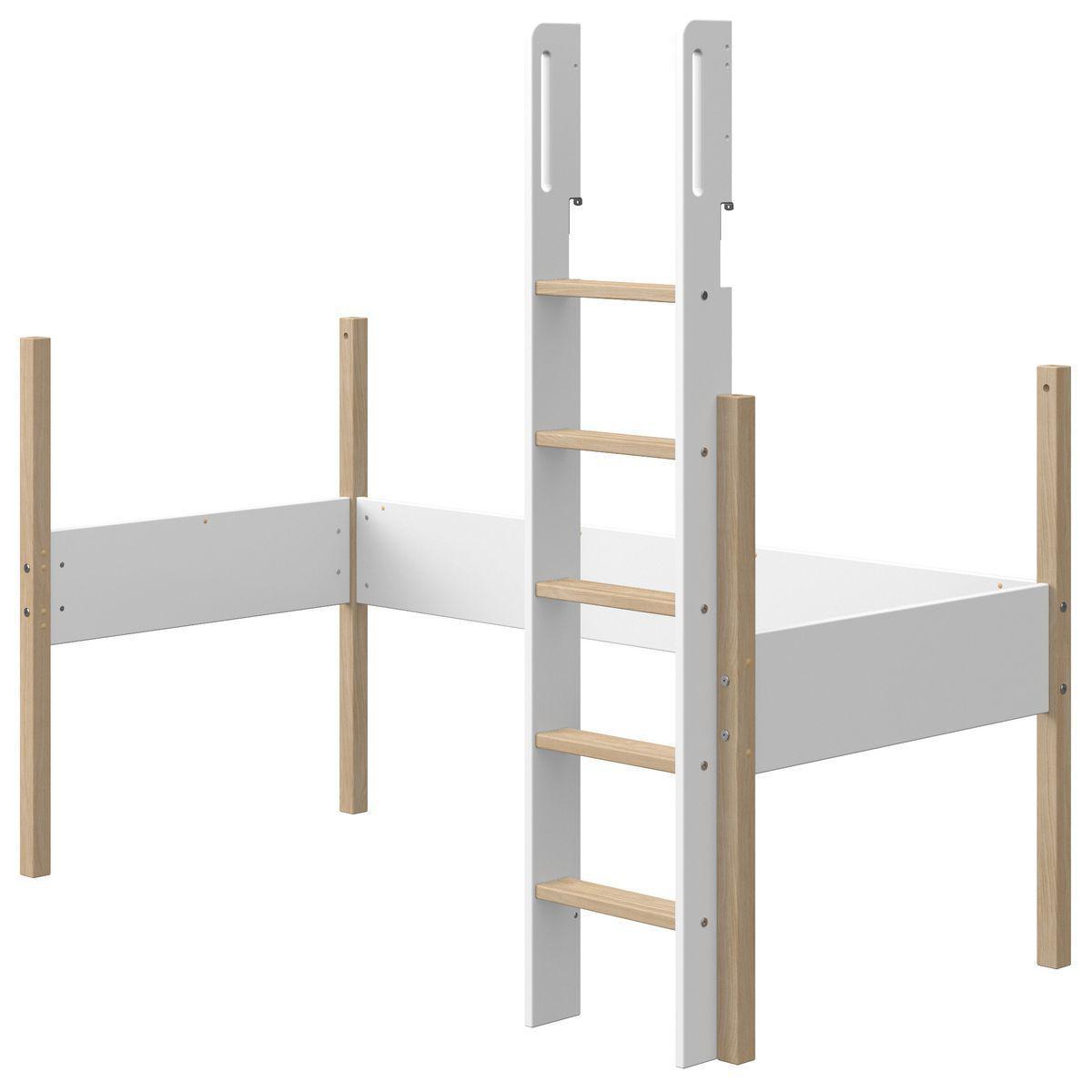 Structure-échelle lit mezzanine 200x90cm NOR Flexa chêne-blanc