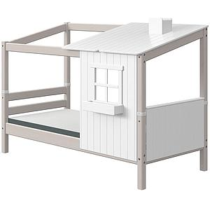 Structure toit lit cabane 190cm 1/2 PLAY HOUSE CLASSIC Flexa blanc-grey washed