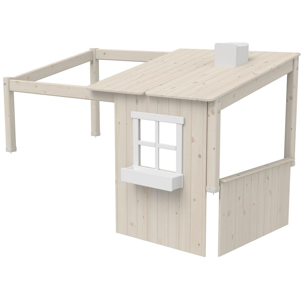 Structure toit lit cabane 190cm 1/2 PLAY HOUSE CLASSIC Flexa blanchi-blanc