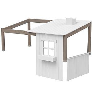 Structure toit lit cabane 190cm 1/2 PLAY HOUSE CLASSIC Flexa terra-blanc