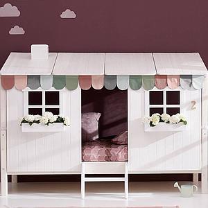 Structure toit lit cabane 200cm 1/1 PLAY HOUSE CLASSIC Flexa blanchi-blanc