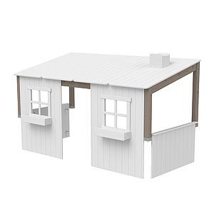 Structure toit lit cabane 200cm 1/1 PLAY HOUSE CLASSIC Flexa terra-blanc