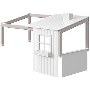 Structure toit lit cabane 200cm 1/2 PLAY HOUSE CLASSIC Flexa blanc-grey washed