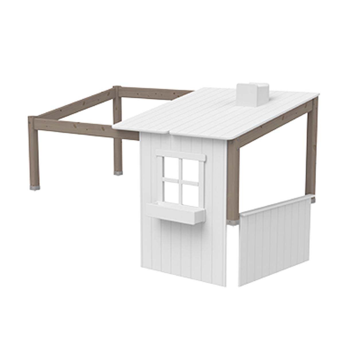 Structure toit lit cabane 200cm 1/2 PLAY HOUSE CLASSIC Flexa terra-blanc