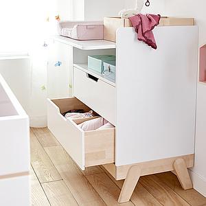 Table à langer 2 tiroirs Lifetime bouleau-blanc
