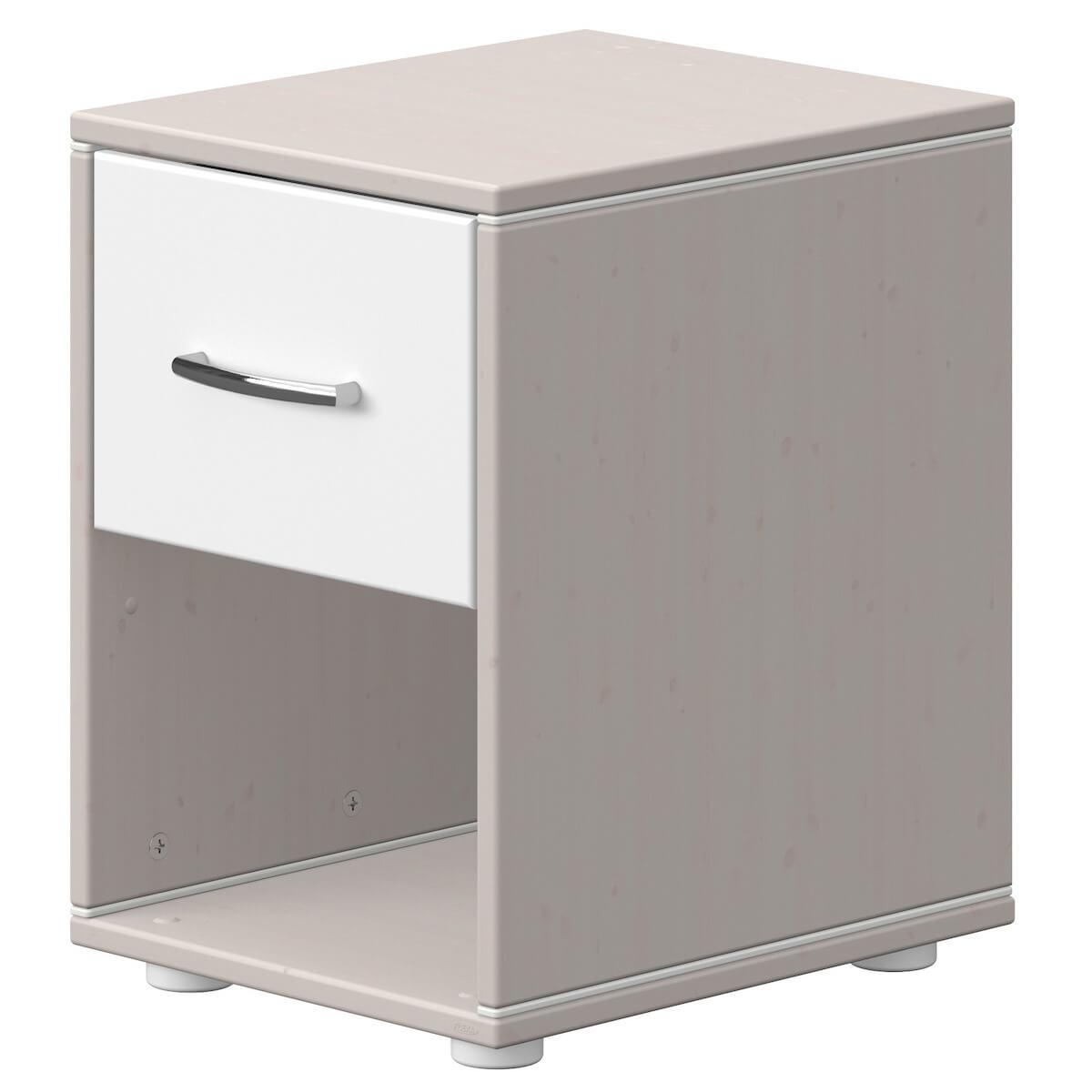 Table de chevet 1 tiroir CLASSIC Flexa grey washed-blanc