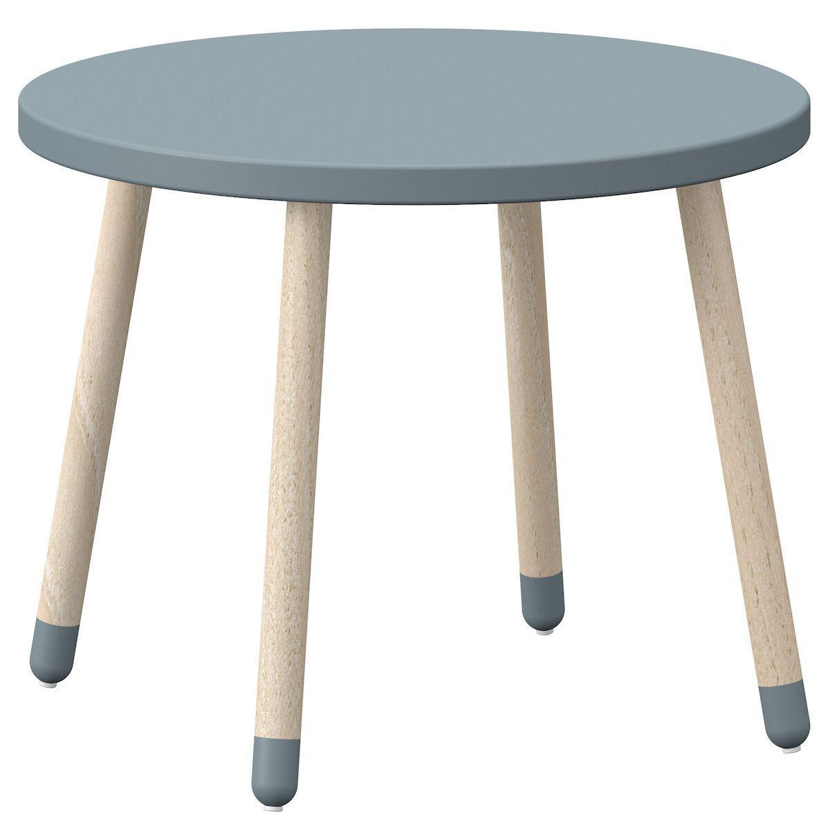 Table enfant ronde 60cm DOTS Flexa frêne bleu