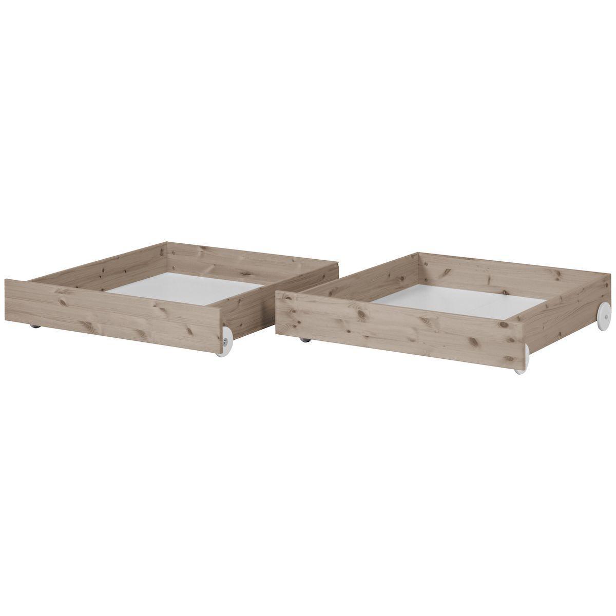 TERRA by Flexa Ensemble de 2 tiroirs bruns pour lit simple ou lit superposé 90x190 cm