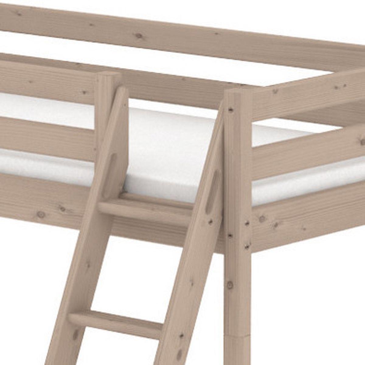 TERRA by Flexa Lit mi-hauteur 90x190 cm avec échelle inclinée poignées et rambarde blanche