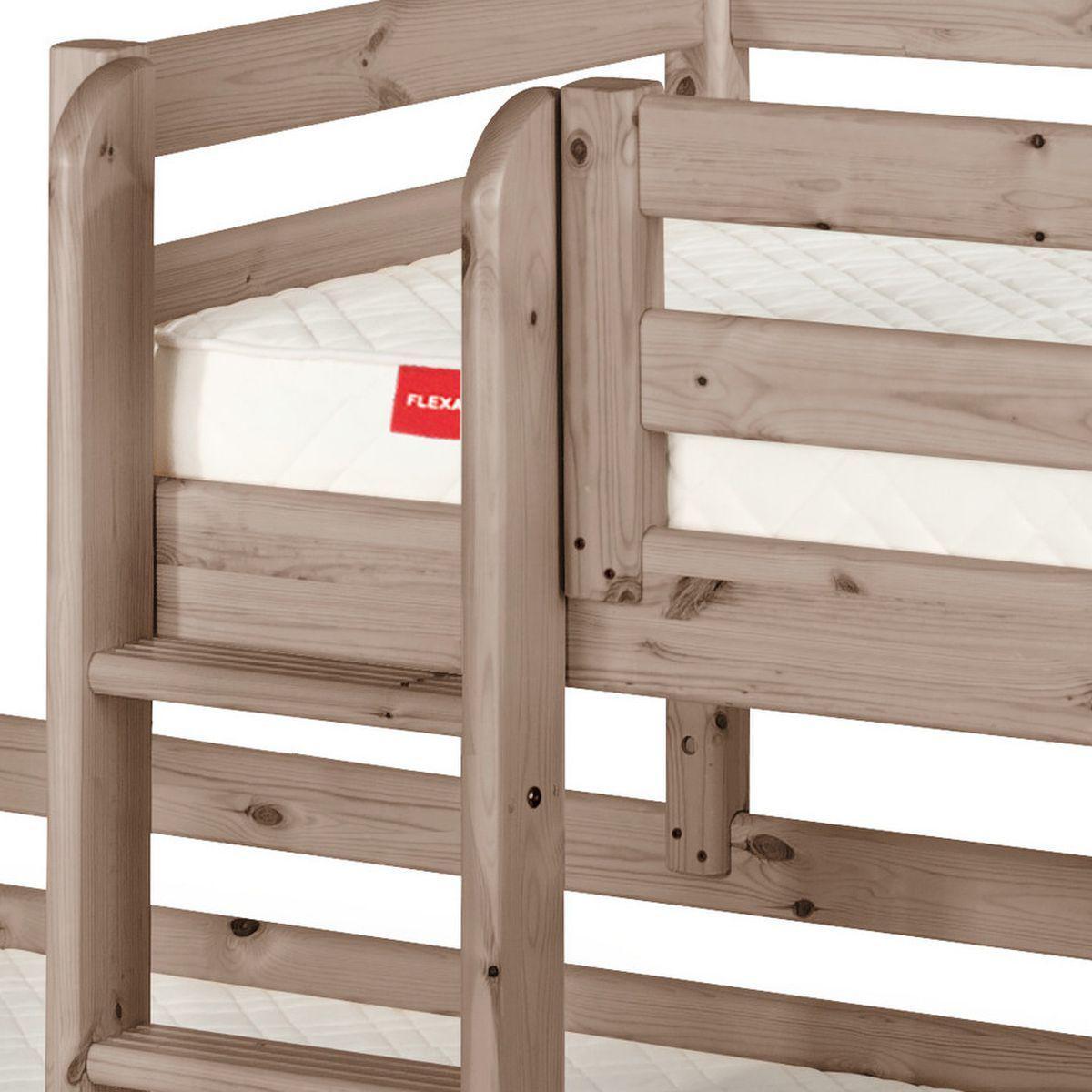 TERRA by Flexa Lit surélevé Classic + lit Classic simple Line 90x190 cm + échelle droite