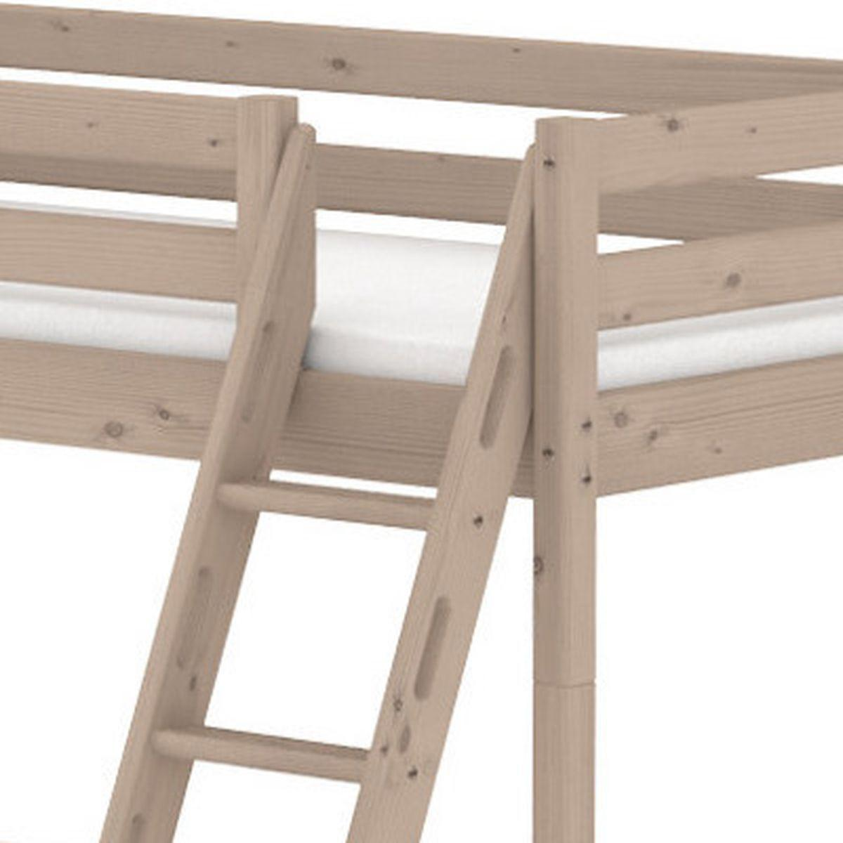 TERRA Lit mezzanine Line 90x200 cm + échelle inclinée avec poignées + rambarde blanche by Flexa