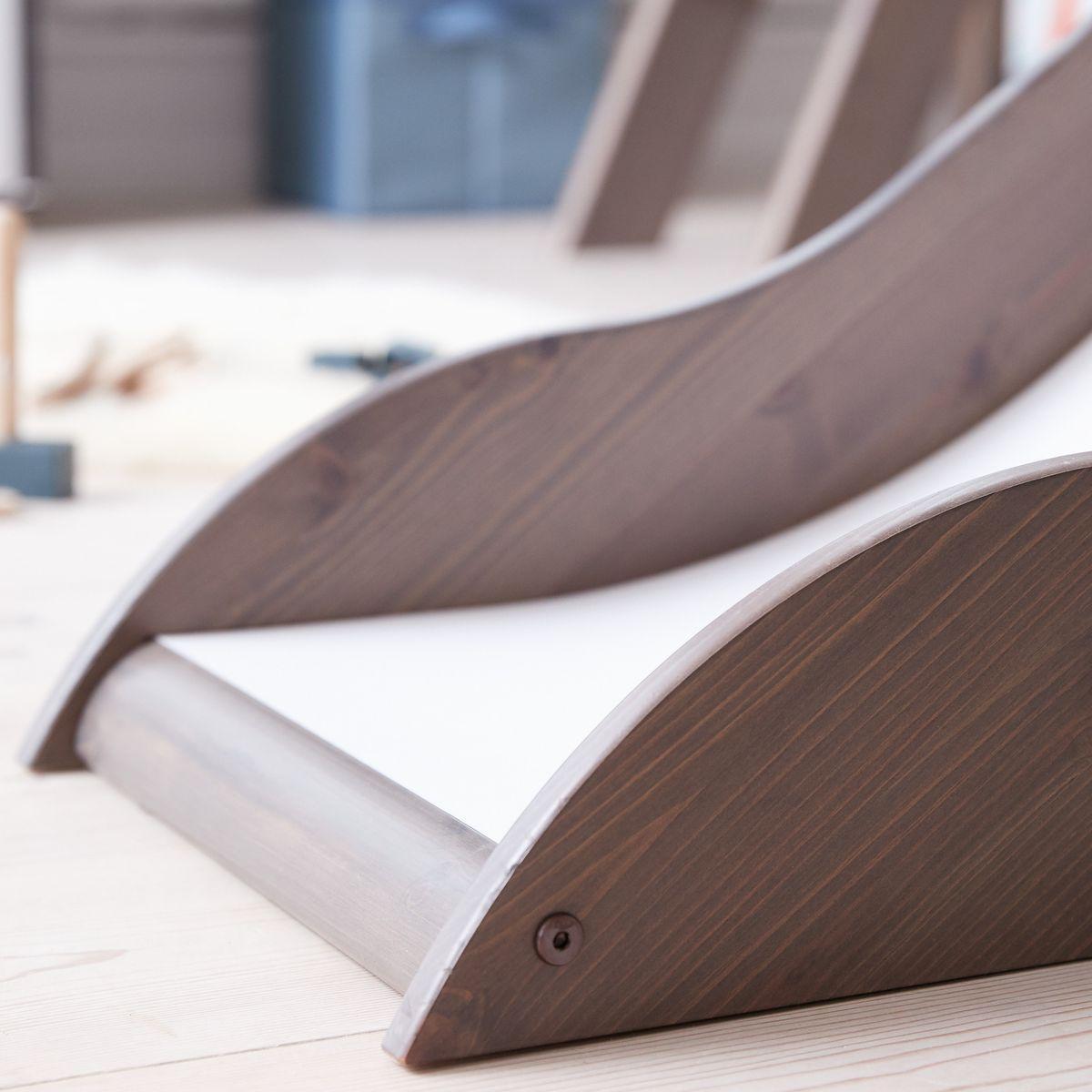 Terra Lit mi-hauteur Classic Line 90x190 cm + échelle inclinée avec poignées intégrées + toboggan by Flexa