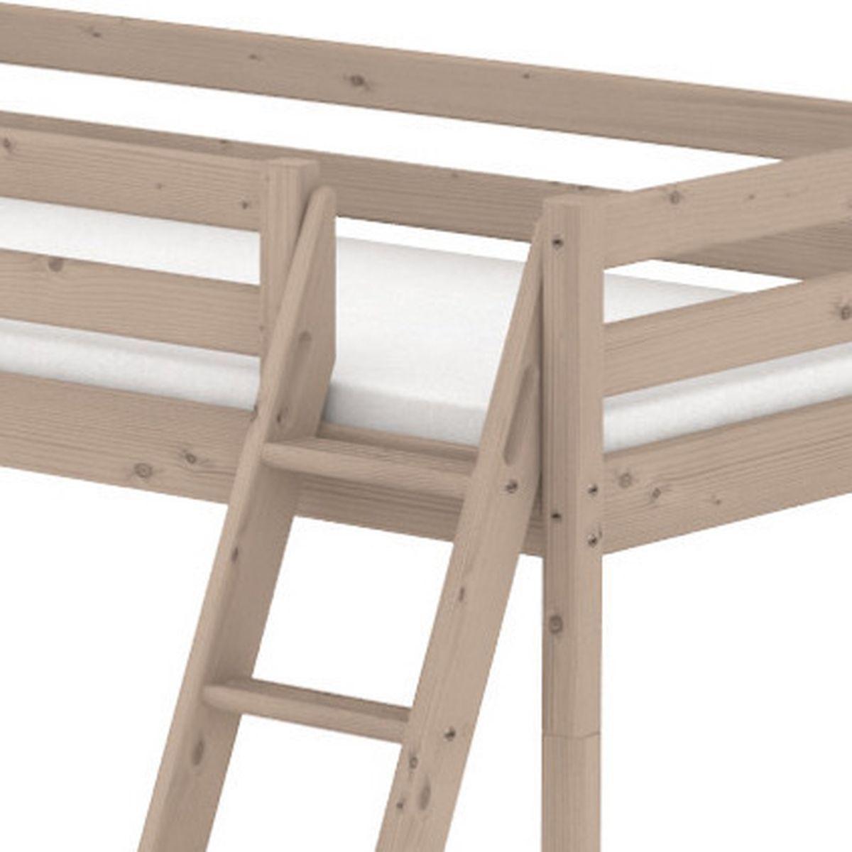 Terra Lit mi-hauteur Classic Line 90x200 cm + échelle inclinée avec poignées intégrées + toboggan by Flexa
