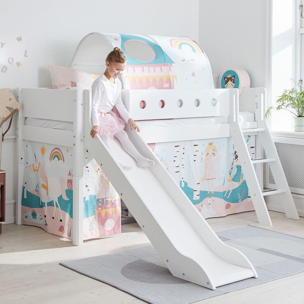WHITE by Flexa Lit Classic mi-hauteur en MDF 90x190 cm avec échelle droite, toboggan, barrière de sécurité blanc et pieds bouleau